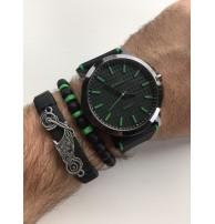 Erkek Kol Saati Seti Yeşil-Siyah