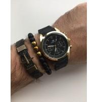 Erkek Kol Saati Seti Altın-Siyah