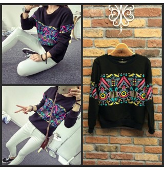 Etnik Desen Sweatshirt, Japon Style