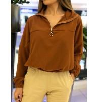 Japon Style Fermuarlı Sweat Bluz