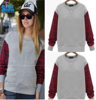 Japon Style, Kolları Ekose Sweatshirt
