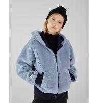 Japon Style, Kapşonlu suni yün ceket mavi