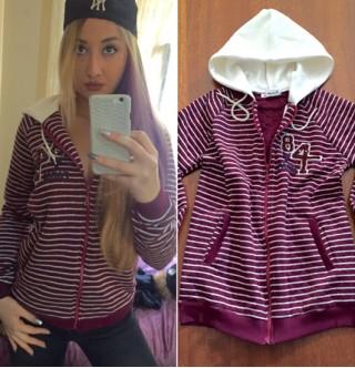 Japon Style Kapşonlu Bordo Sweatshirt