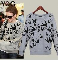 Japon Style, Kuş Desenli Sweatshirt