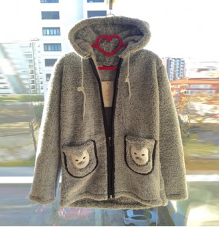 Japon Style Peluş Gri Sweatshirt