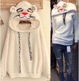 Japon Style Pembe Panter Peluş Sweatshirt