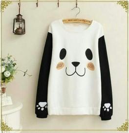 Japon Style, Siyah Beyaz Sweatshirt