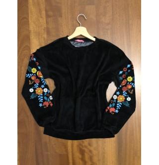 Çiçek Desenli Siyah Kadife Sweatshirt