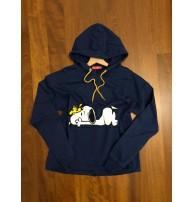 Japon Style, Snoopy Kapşonlu Sweatshirt Lacivert (indigo)