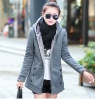 Japon Style, Kapşonlu içi Kürklü Uzun Sweatshirt