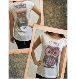 Japon Style Baykuş Baskılı Tshirt