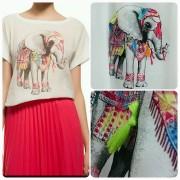Japon Style Fil Desenli Tshirt
