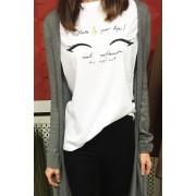 Japon Style Kirpik Baskılı Tshirt