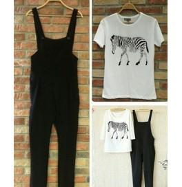 Japon Style Zebra Baskılı Tshirt ve Tulum