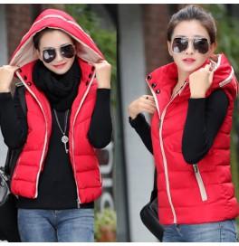 Japon Style Kapşonlu Kırmızı Yelek