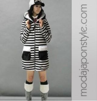 Japon Style Zebra Kapşonlu Mont Kaban