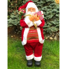 Hediye Paketli Noel Baba Figürü, 65-70 cm Yılbaşı Hediyesi