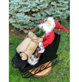 Kızaklı Noel Baba Figürü, 65-70 cm Yılbaşı Hediyesi