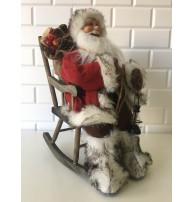 Sandalye Fenerli Noel Baba Figürü, 65-70 cm Yılbaşı Hediyesi