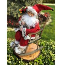 Sandalyede Sallanan Noel Baba Figürü, 65-70 cm Yılbaşı Hediyesi