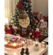 Yeni Yıl, Yılbaşı, Dekoratif Metal Bacaklı Oynar Noel Baba