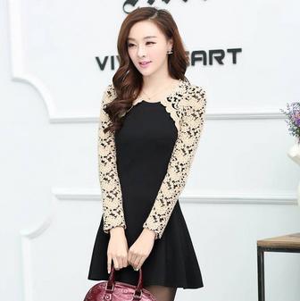 c37045f3c93b8 Japon Style Uzun Kollu Pileli Elbise | Moda