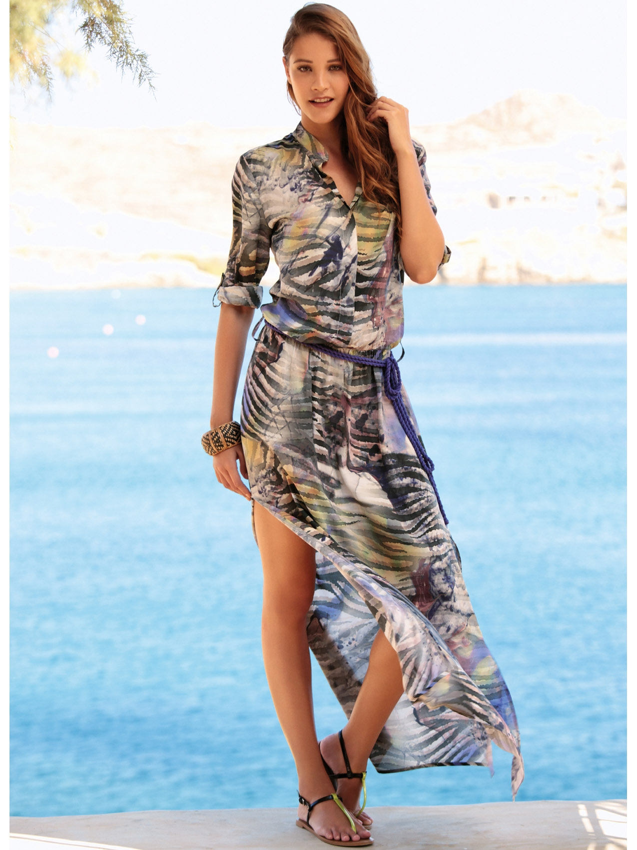 f4919cb444127 Renkli Uzun Elbise | Moda